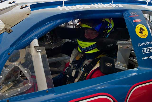 Russ in the NASCAR-spec Ford Taurus